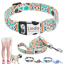 Personalized Dog Collar and Leash Set Customized ID Nameplate Free Engraved SML