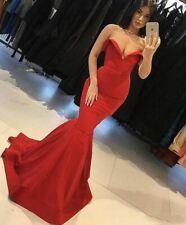 Sweetheart Red Satin Mermaid Prom Dresses Long Evening Dress Formal Gowns Custom