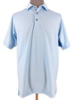 Bobby Jones Mens X H20 Short Sleeve Striped Blue Golf Polo Shirt Size Large