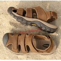 Mens Sports hiking leather Casual Sandals Roman Close Toe Beach Holiday Shoes