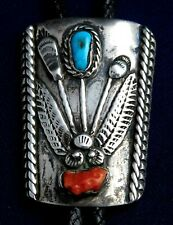 NATIVE AMERICAN STERLING Stamped TURQUOISE CORAL HANDMADE Vintage BOLO TIE