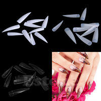 10/50/100Pcs Long Sharp False Nail Art Tips Acrylic Salon - White Clear Natural