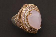 Turkish Jewelry Big Drop Shape Pink Quartz Topaz 925 Sterling Silver Ring Size 9