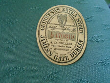 VINTAGE GUINNESS EXTRA STOUT PAPER LABEL - A D COLLIER MARKET PLACE GUISBOROUGH