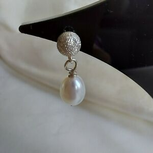 Cultured Pearl & Frosted Silver Bead Drop Dangle Earrings 925