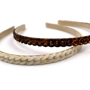 White Brown Resin Chain Braided Headband Hair Accessories for Women Girls Gifts