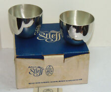 2 VINTAGE STIEFF PEWTER JEFFERSON CUPS! ENGRAVED WITH HIGH RISE BUILDING! IN BOX