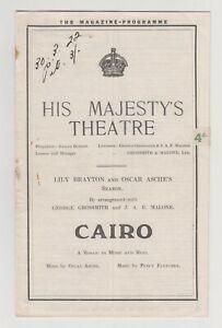 "VINTAGE 1922 PROGRAMME ""Cairo"" His Majesty's Theatre Lily Brayton Oscar Asche"
