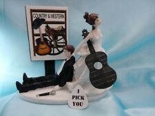 WEDDING CAKE TOPPER Funny Grooms Country & Western Acoustic Guitar MUSIC Cowboy