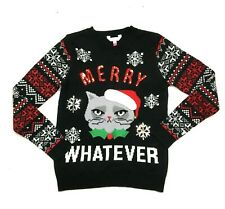 Ugly Christmas Sweater Womens Sz L No Boundaries Merry Whatever Cat