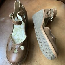 FLY OF LONDON,woman's Brown Leather Shoes,wedge,size 5/38
