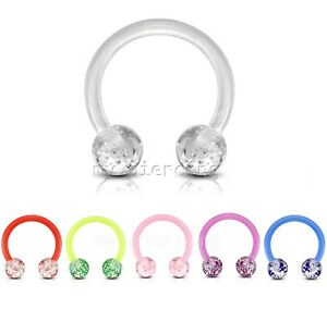 "2pc 16G 3/8"" Ultra Glitter Acrylic Balls Flexible Horseshoe Circular Ears Septum"