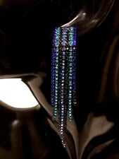 Womens Ladies Statement Multi Coloured Blue Tassel Crystal Drop Dangle Earrings