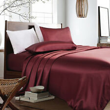 4-PC Maroon Bridal Satin Silky Sheet Set Queen/King Size Fitted Pillows 500TC