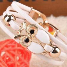 Armband - modern - Weiss - Gold - Eule Pu - Leder - Armbänder - Eulen elegant