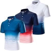 New Fashion Men Tie-Dye Polo Shirt Short Sleeve Casual Sport Golf Cotton T Shirt