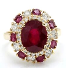 4.90 Carat Natural Red Ruby & Diamonds in 14K Yellow Gold Women Ring