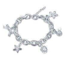Lau-Fashion Damen Luxus Bettelarmband Strass Stern Anhänger Schmuck Silber 20cm
