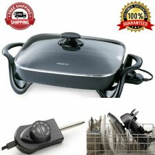 16-Inch Electric Skillet Grill With Glass Cover Deluxe Nonstick Surface Cooker