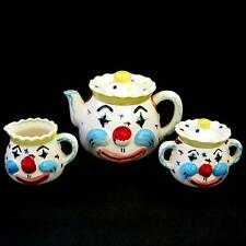 Vtg Lipper & Mann Creations Ceramic Tea Set Teapot Creamer Sugar Clowns Japan