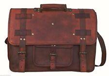 Men Genuine Leather Handbag Brown Briefcase Laptop Shoulder Messenger Bag 5 PCS