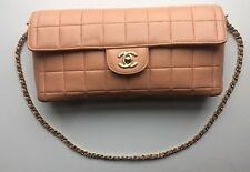 Authentic CHANEL Peach Quilted Lambskin Leather East West Baguette Flap Bag