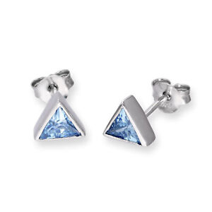 Real 925 Sterling Silver & CZ Crystal Triangle Birthstone Stud Earrings Birthday