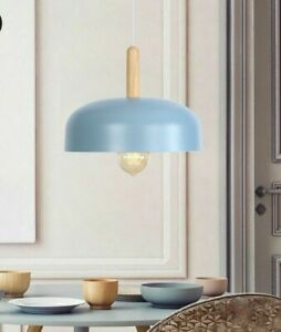 Indoor Pendant Kitchen Lights Metal Bowl Design LED Lamp With Woods 3 Cute Color