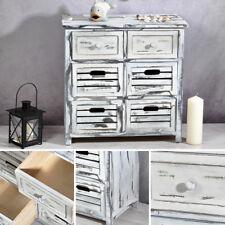 Vintage Wandschrank mit 2 Schubladen in weiß Kommode Aufbewahrungsschrank Holz