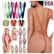 US_Womens Monokini Swimsuit One Piece Micro Thong Bodysuit Swimwear Bathing Suit