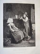 J. VEYRASSAT (1828-1893) GRAVURE SCENE MUSIQUE ENFANT FLÛTE CAMPAGNE FORTIN 1857