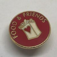 Vintage 80's Metal Food and Friends Pin Red Gold Grocery Bag 1""