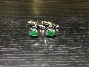 925 Sterling Silver Emerald Cufflinks Genuine Stone Men Oval Emerald Cufflinks