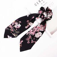 Ribbon Long Bow Hair Tie Rope Women Elastic Hair Band Ponytail Holder Headwear