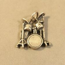 .925 Sterling Silver 3-D DRUM KIT CHARM Pendant Bracelet NEW Music 925 MC45