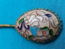 #4 RUSSIAN DESIGN STERLING SILVER 88 ENAMEL GILDED 24K SPOON  INITIAL ПО 12,7g