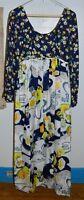 VTG Sandine Originals NY MOD Midi Rhinestone Flower Multi-Color Empire Dress Med
