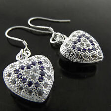 EARRINGS DROPS 925 STERLING SILVER S/F AMETHYST DIAMOND SIMULATED ANTIQUE HEART
