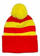 Red and Yellow Traditional Style Bobble Hat - Made in UK
