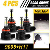 4PCS 9005 H11 Combo 4-Side CREE LED Headlight Kit High Low Beam Bulb 6000K White