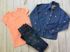 Justice Lot 7 8S EUC LS Button Up Denim Blue Peach Tshirt Simply Low Jeans Bx13