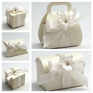 ardesia Pearlised Ivory Wedding Favour Boxes. Party Christening Sweet Favor Gift