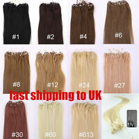 STOCK AAA Loop Micro Rings Hair Extensions New Remy 100% Human Hair Straight new