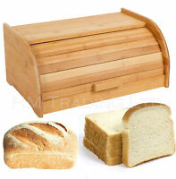 Beech Rubber Wood Roll Up Top Wooden Bread Loaf Bin Kitchen Storage Drop Front