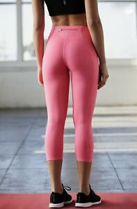 Free People Movement Legging 3/4 Crop You're A Peach Tropical Pink Pocket S NEW
