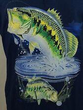 Largemouth Bass Navy Blue Graphic Henley Graphic T Shirt Fishing XL X-Large