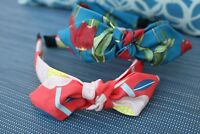 Bandana Headband with wired bow //Bandana White Cherry Read to wear Hair band