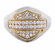 Harley Womens .925 Silver Bling B&S Gold Plated with CZ Stones Band Ring size 8