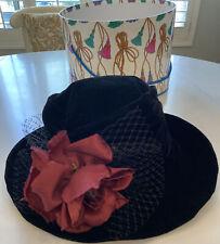 Vintage 70's Black Velvet Hat