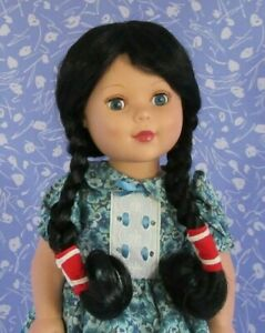 Wee 3 STARSHINE Black Full Cap Doll Wig SZ 12-13 Braids, Native American
